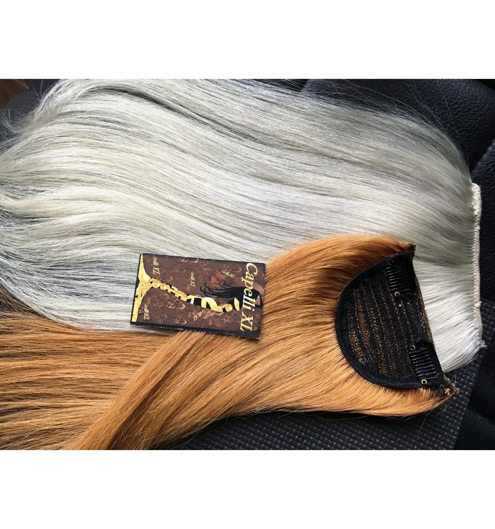 Toupet ciuffo lungo capelli veri Remy con clip colore ...