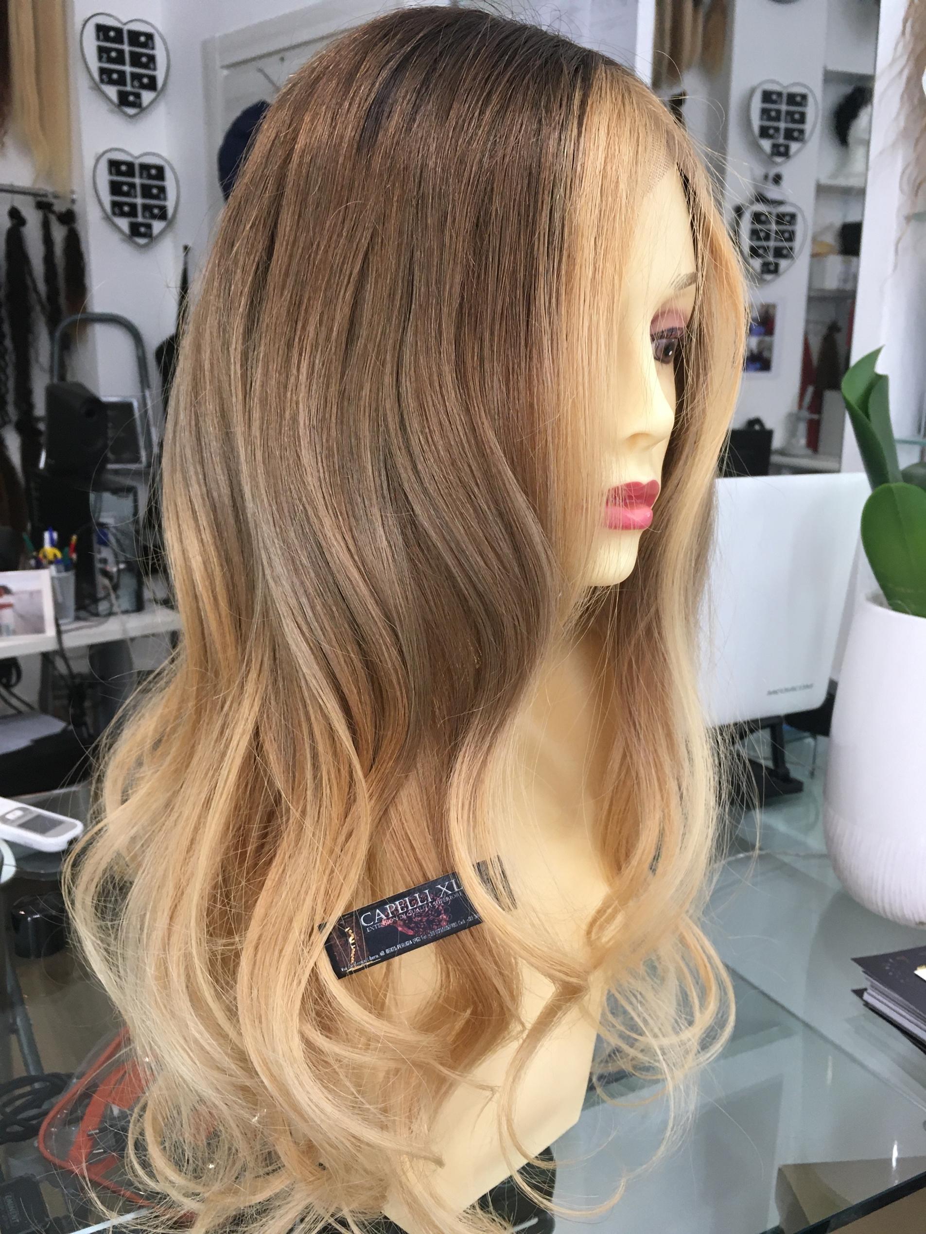 Parrucca vera bionda con effetto balayage capelli veri lunghi