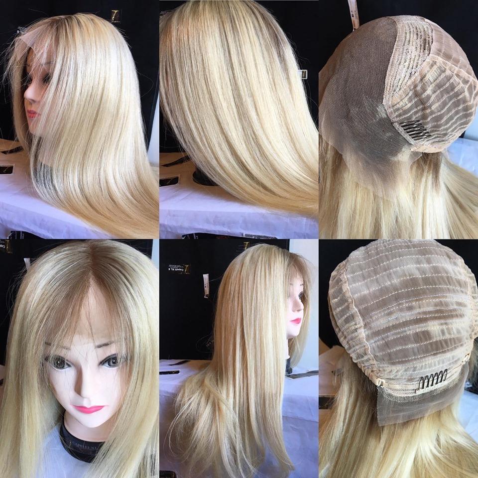 Parrucca Capelli veri remy biondo platino, base scura effetto ricrescita Mono filo Front lace, Full lace
