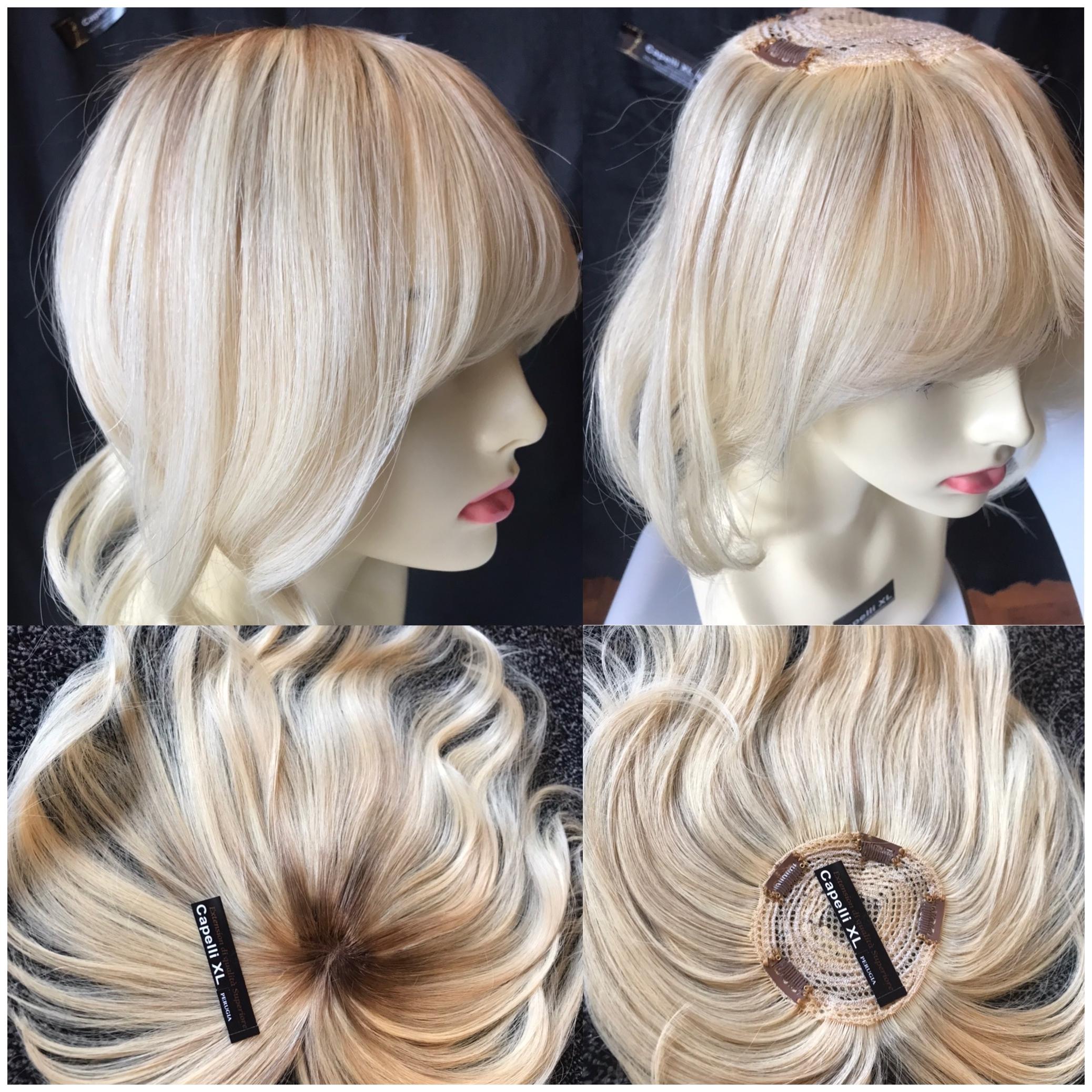 Toupet Chiusura realizzata con capelli veri europei per coprire il centro testa Colore biondo con effetto ricrescita