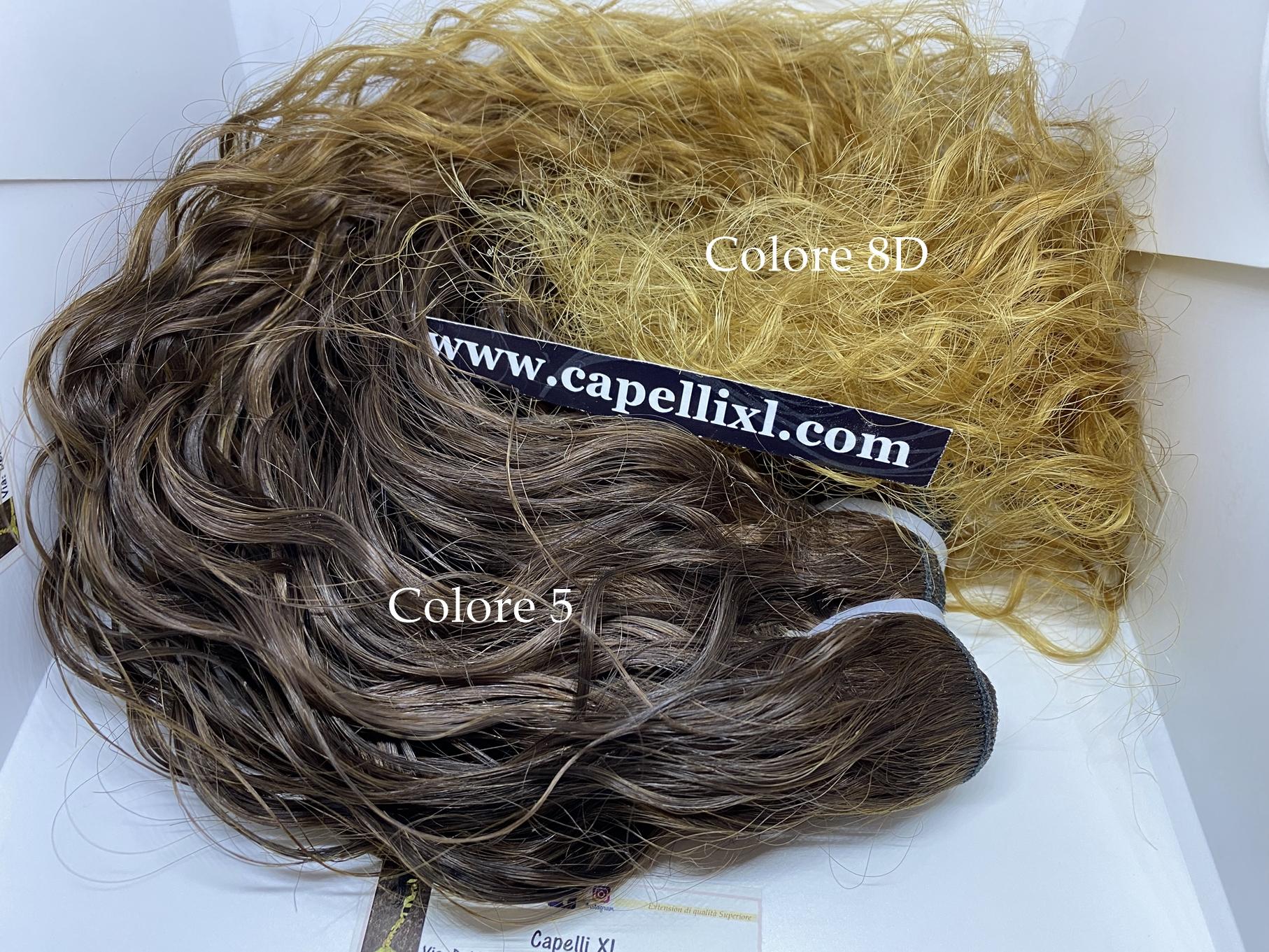 Capelli Brasiliani naturali ricci per extension cucite colore balayage base 5 punte 8D biondo dorato