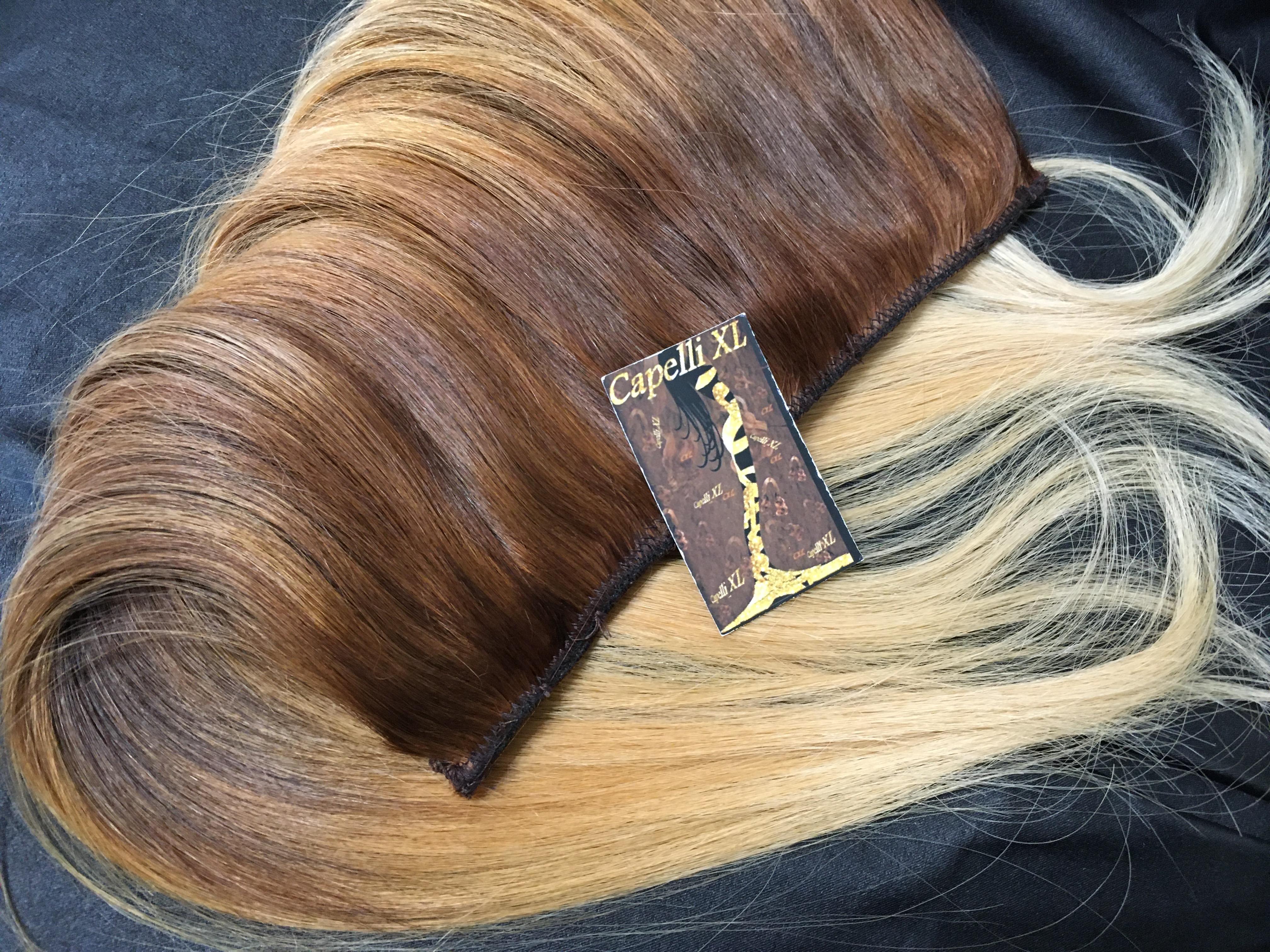 Fascia unica con clip capelli veri colore sfumato Balayage base scura e punte biondo dorato