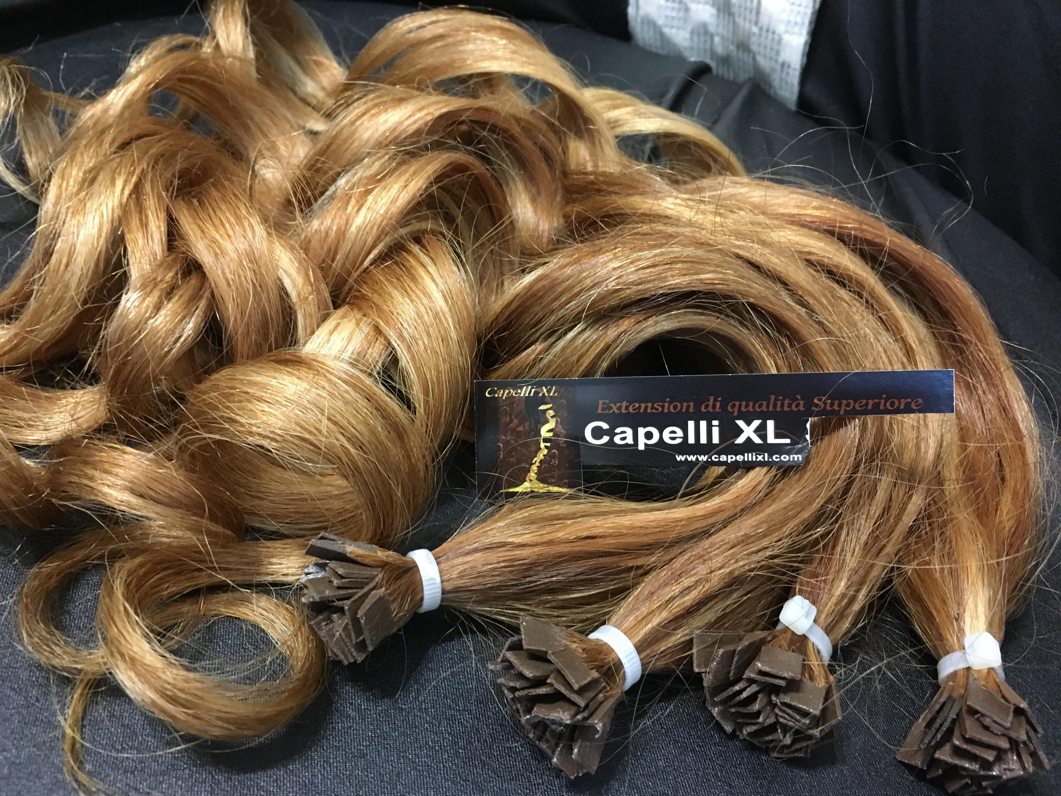 Ciocche XL capelli veri remy indiani biondo miele e cioccolato lunghezza fino a 90cm