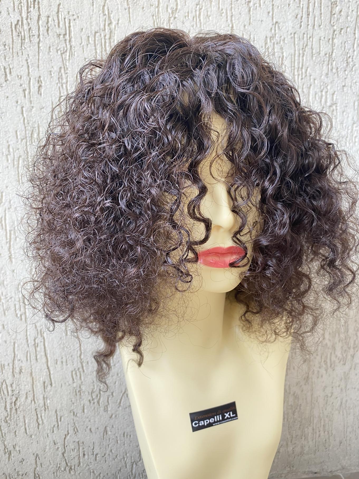 Parrucca di capelli veri ricci Capelli umani di origine Brasiliani Monofilamento frontale Front Lace wig Human Hair