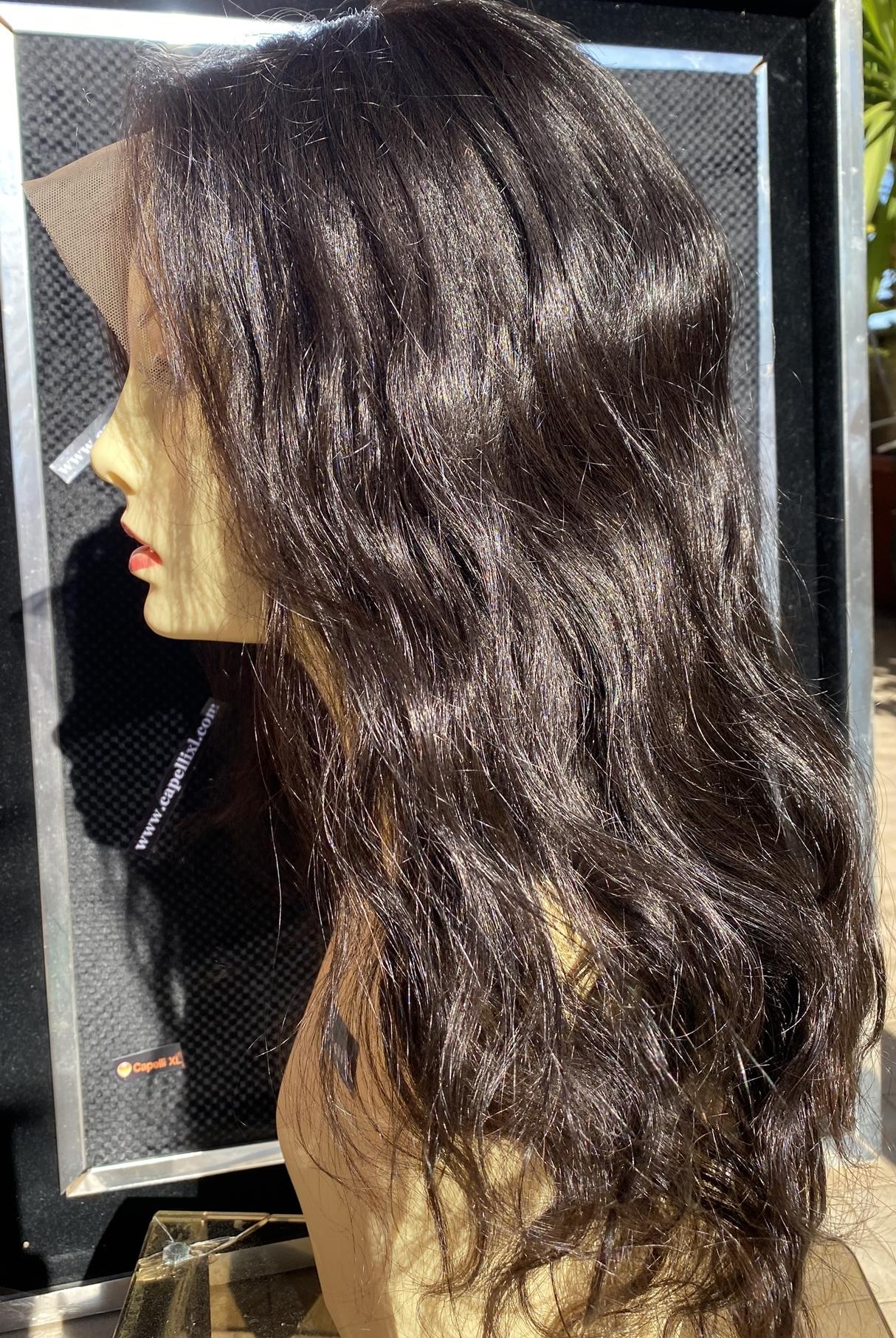 Parrucca di capelli veri remy Front lace wig Capelli brasiliani mossi colore castano naturale