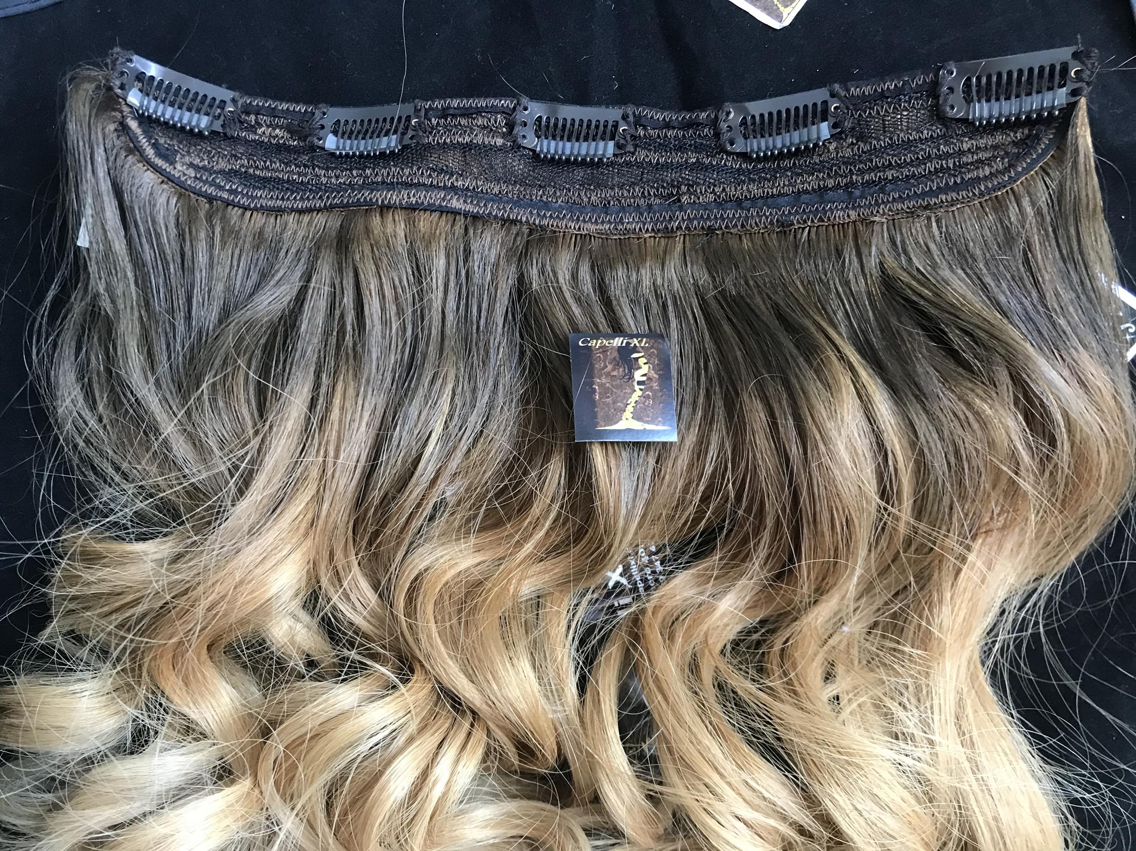 Fascia unica con clip capelli veri ricci colore sfumato Balayage base scura e punte biondo dorato