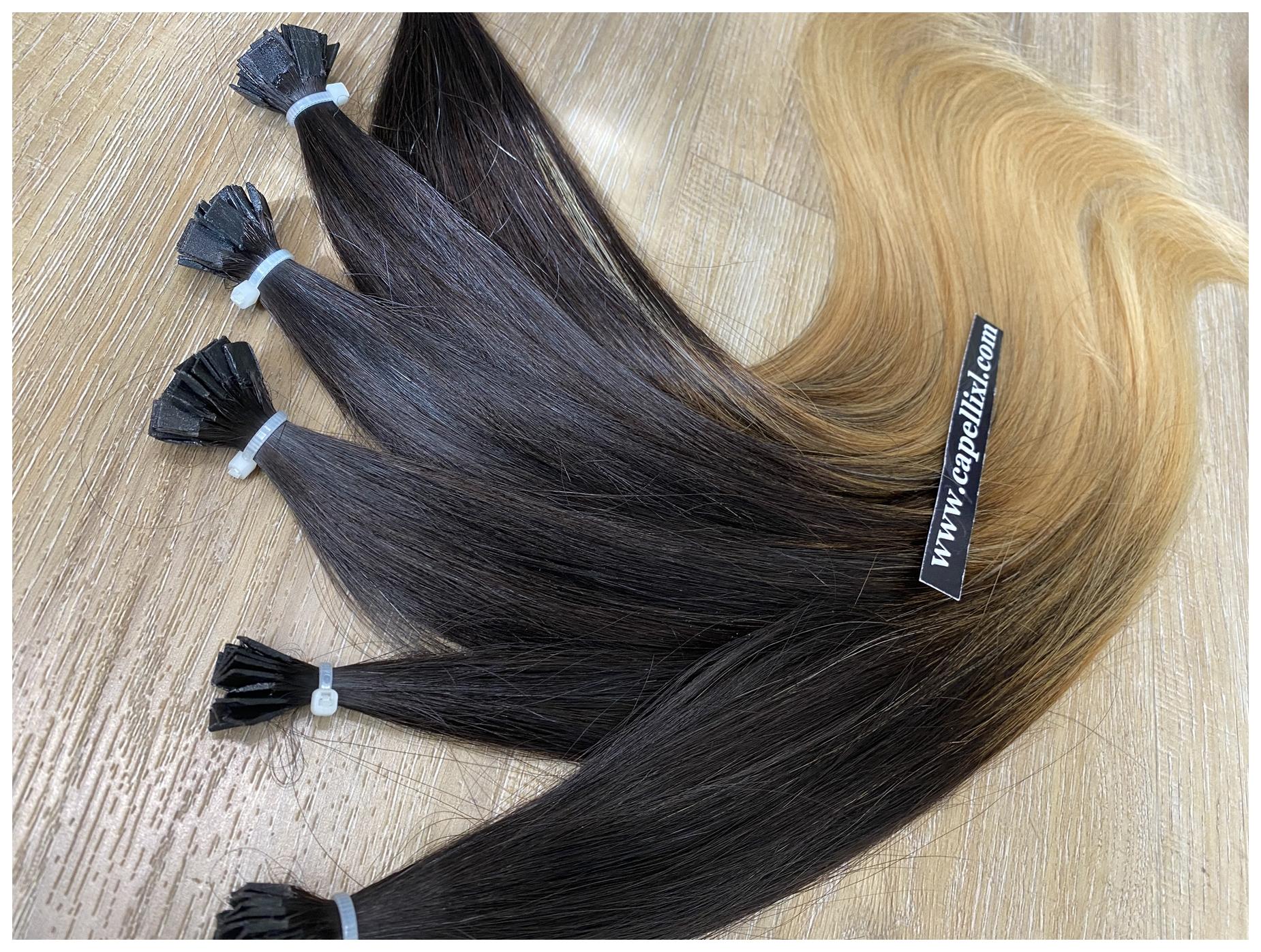 Ciocche di capelli veri colore balayage Sfumatura base castano scuro punte colore biondo dorato