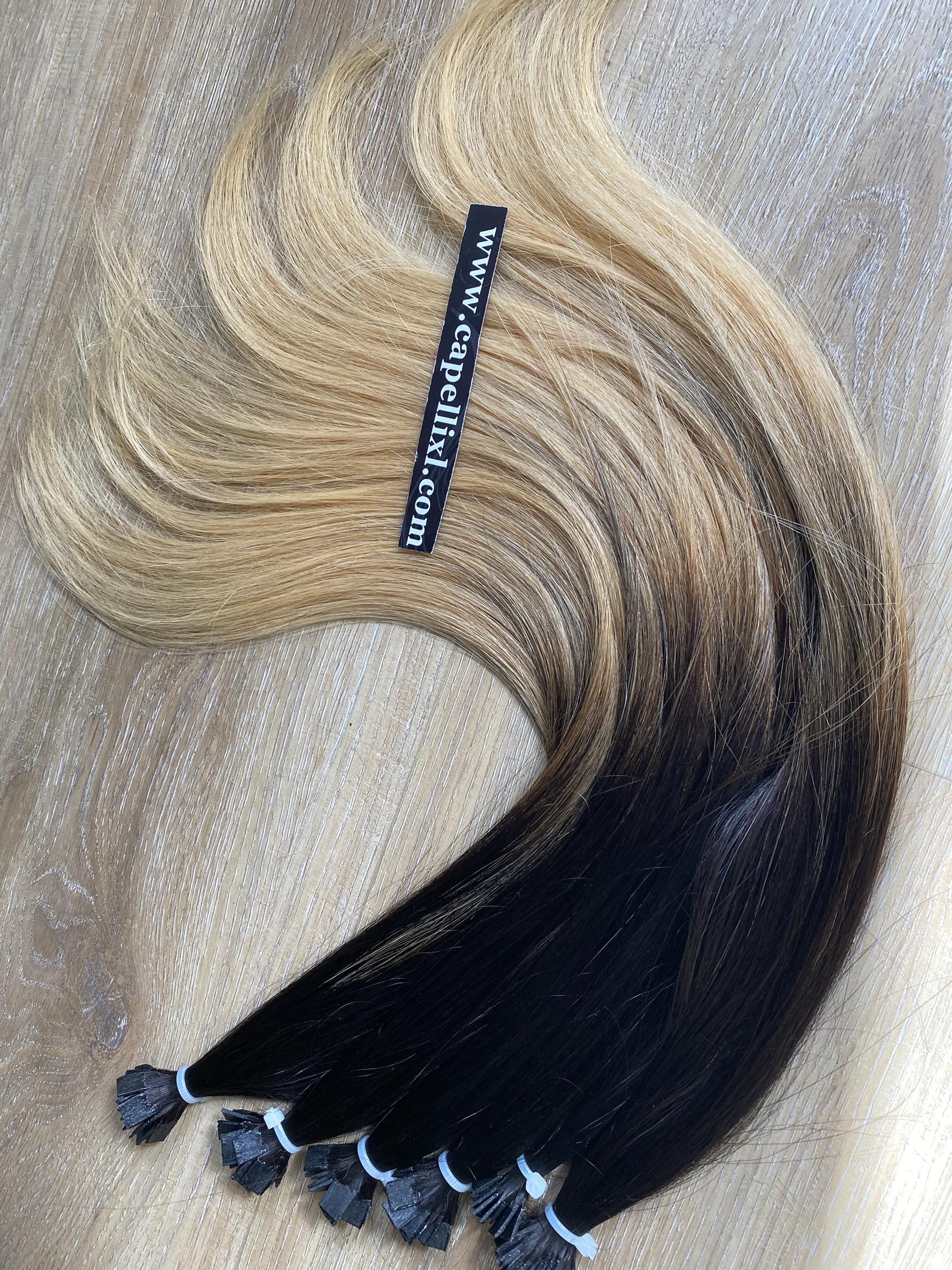 Ciocche di capelli veri colore balayage Sfumatura base castano scuropunte colore biondo Beige freddo