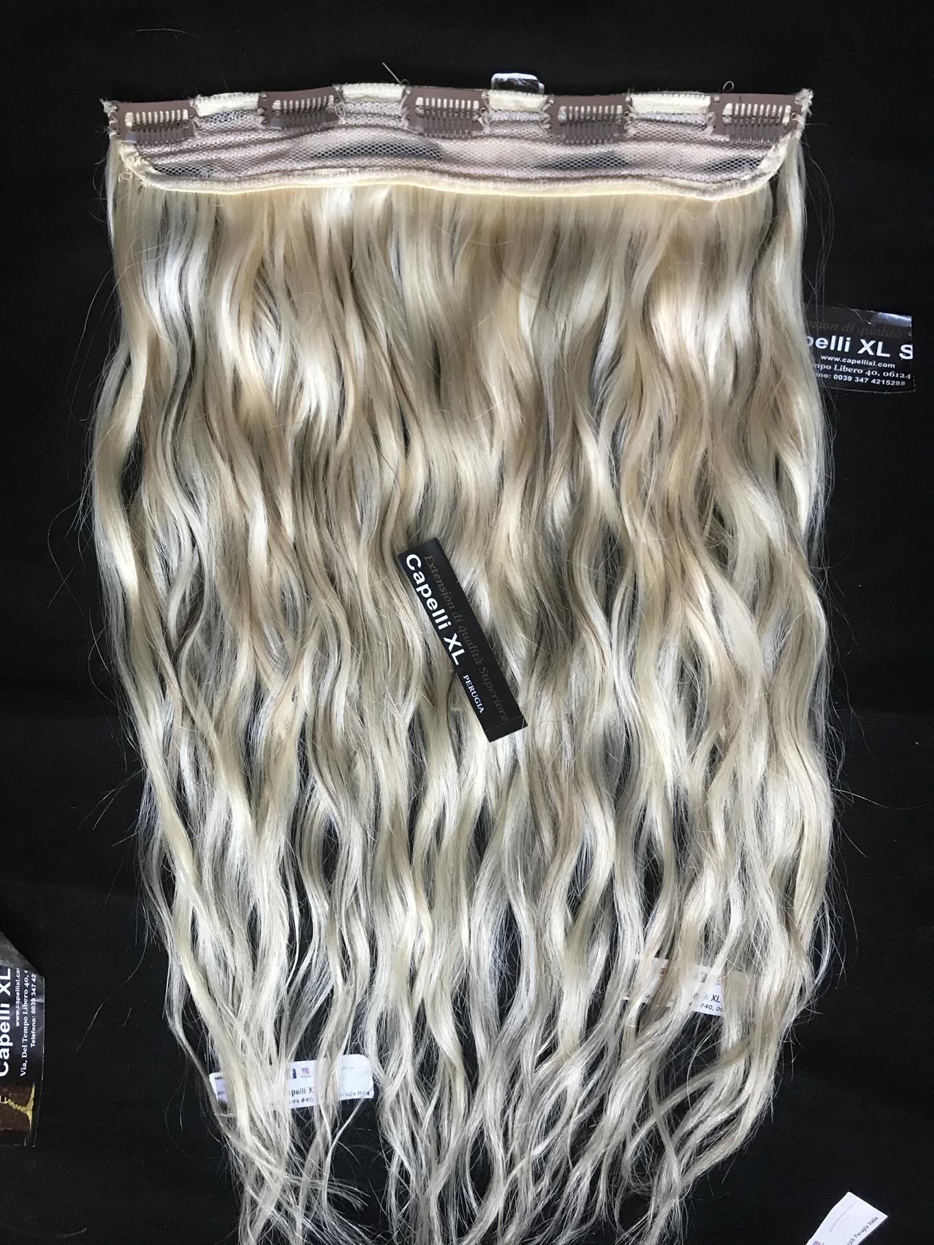 Extension con clip biondi meches capelli veri