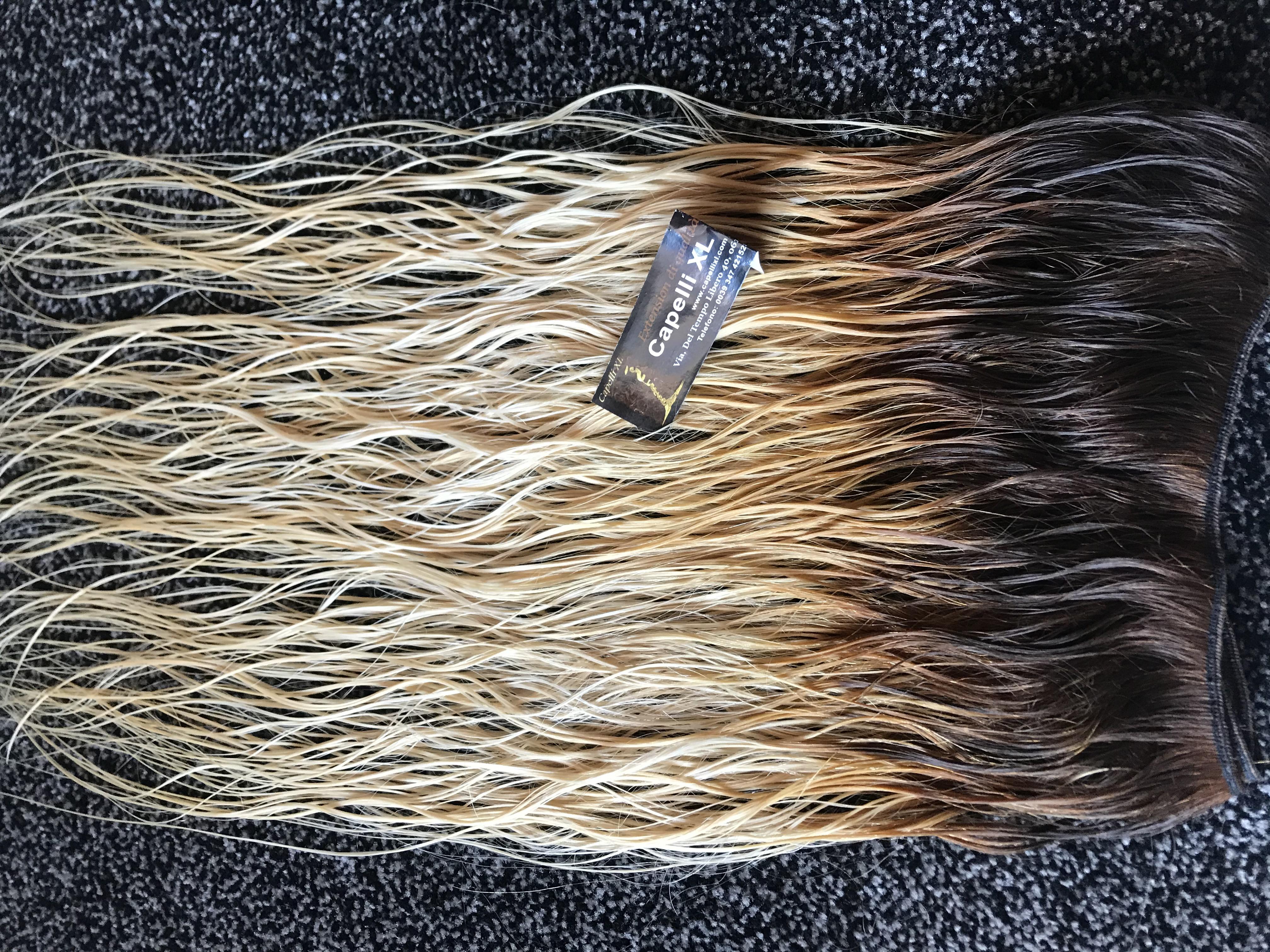 Capelli veri remy base castano scuro punte biondo dorato scuro