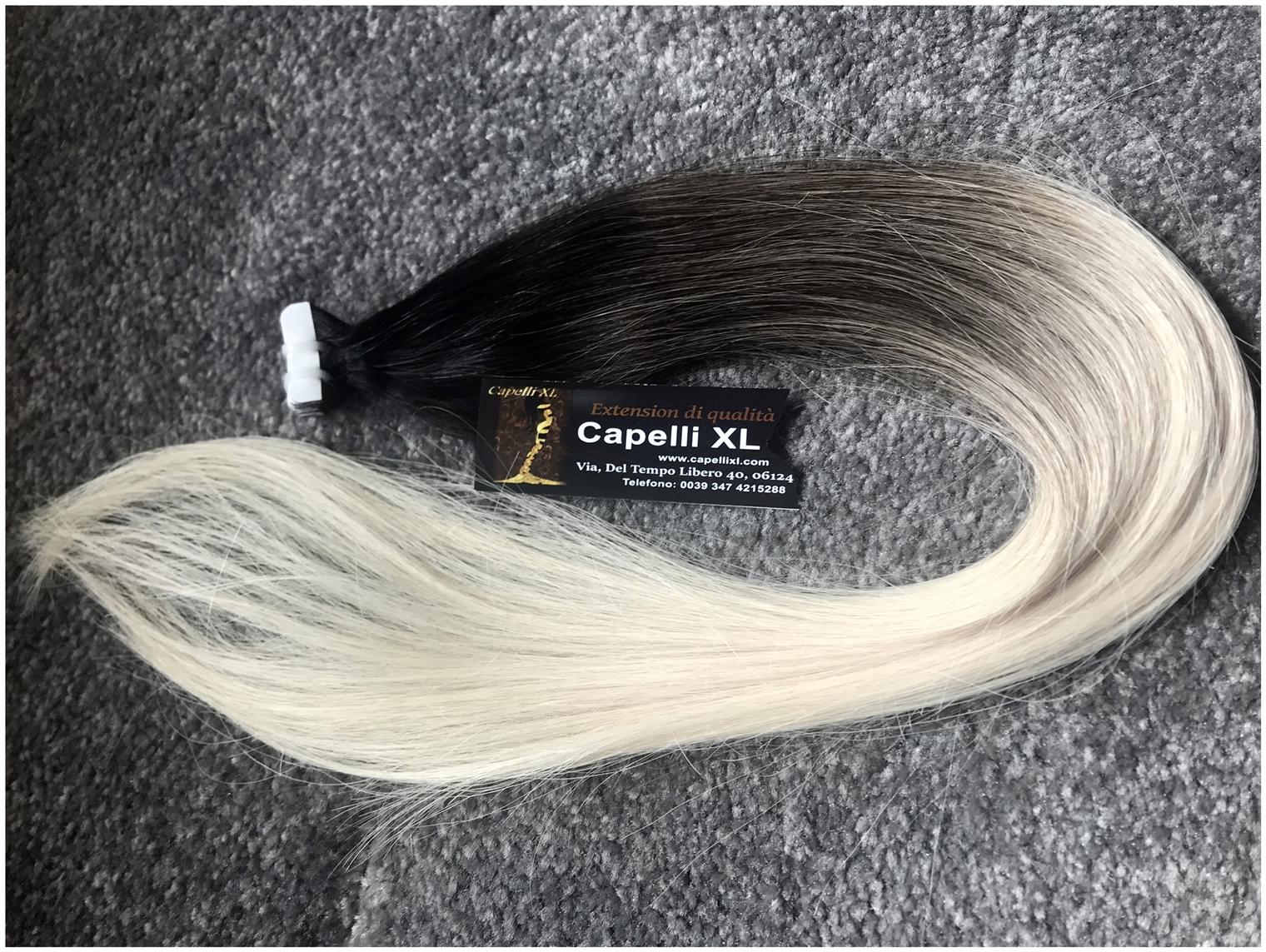 Extension Tape biadesivo capelli veri Biondi Balayage con base scura punte biondo platino