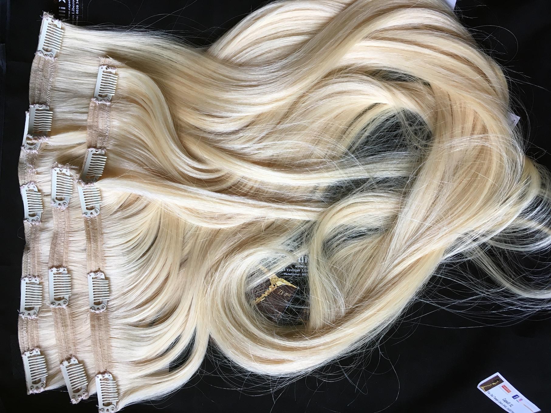 Fasce con clip biondo platino capelli veri