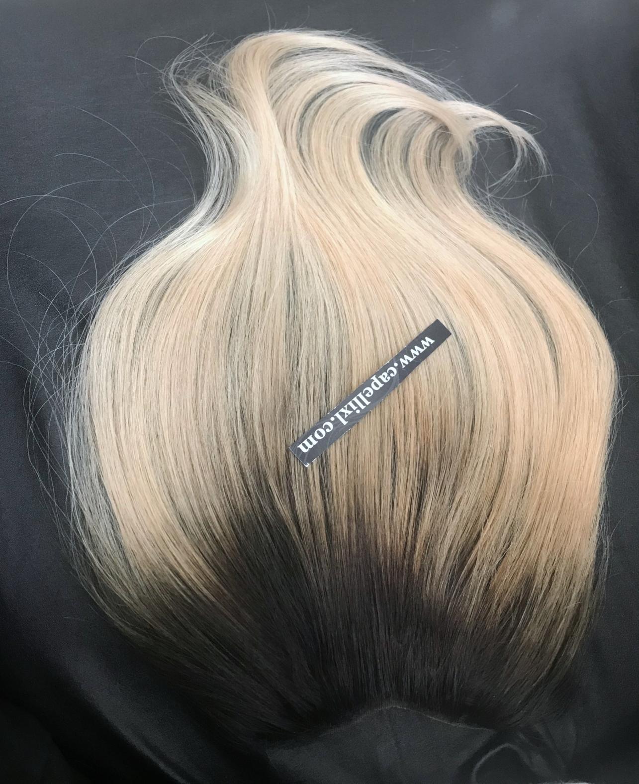 Top closure Toupet piccolo Chiusura capelli veri remy colore balayage