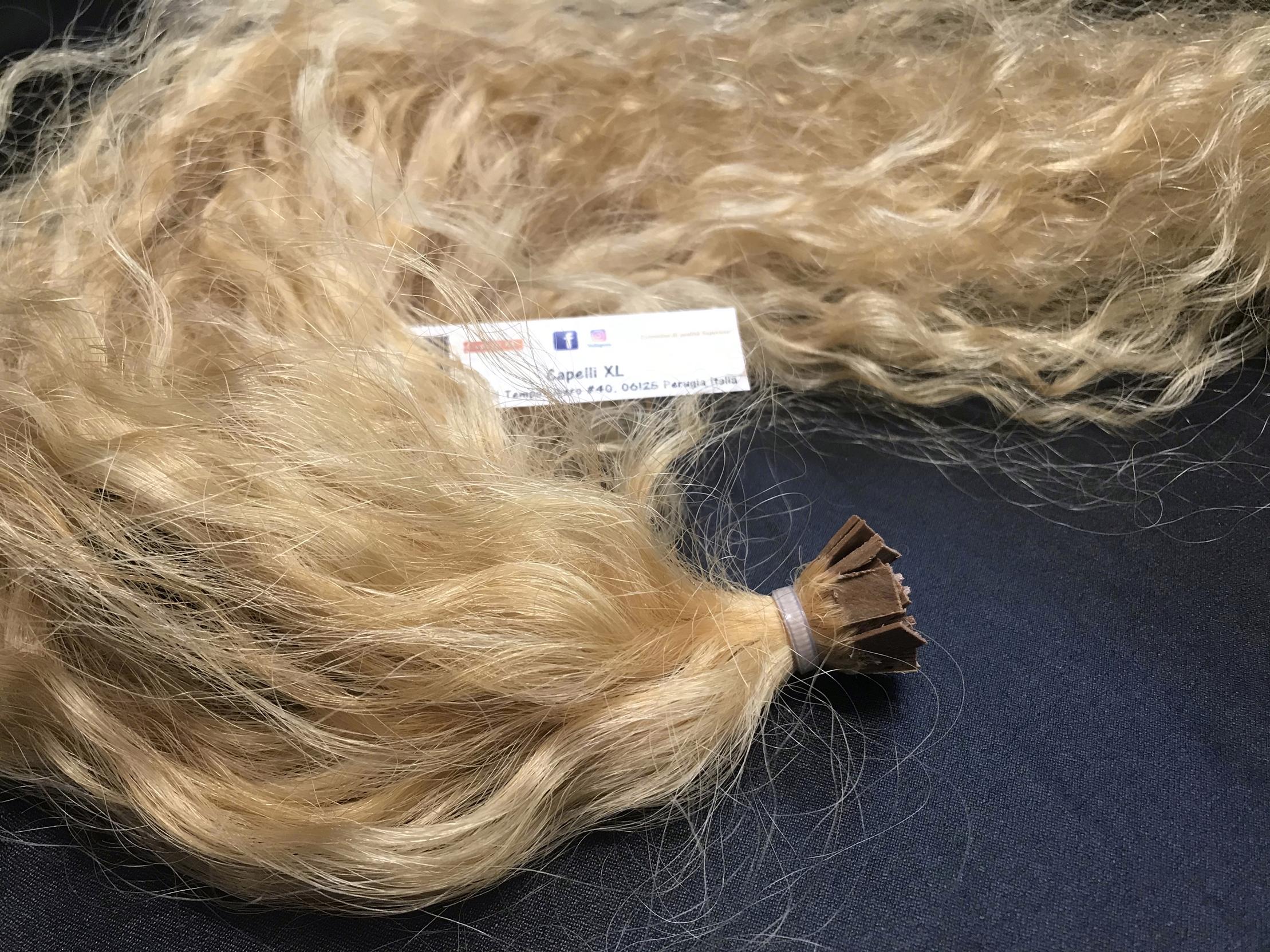 Ciocche ricce di capelli veri remy con cheratina