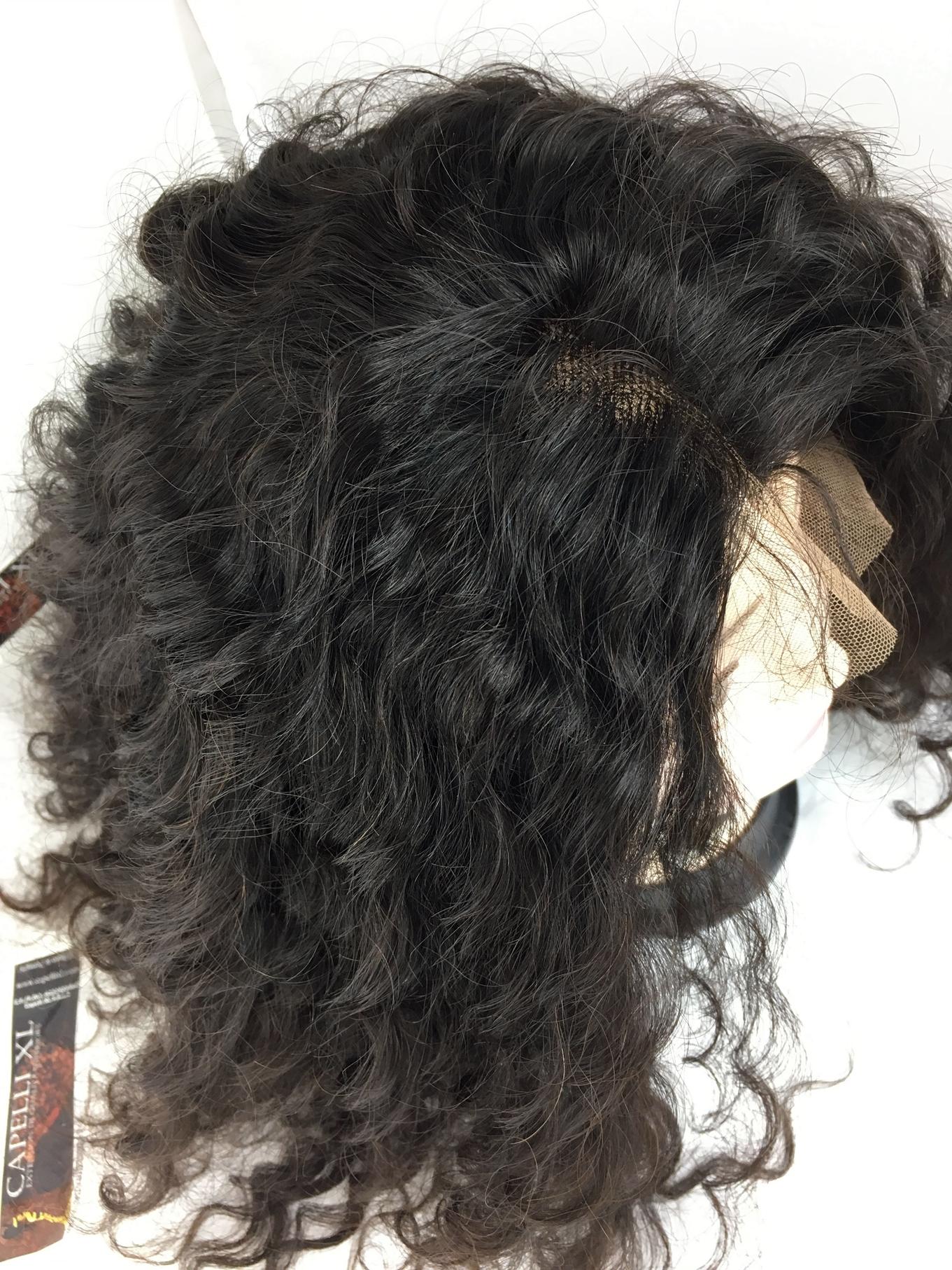Parrucca riccia capelli veri brasiliani colore nero
