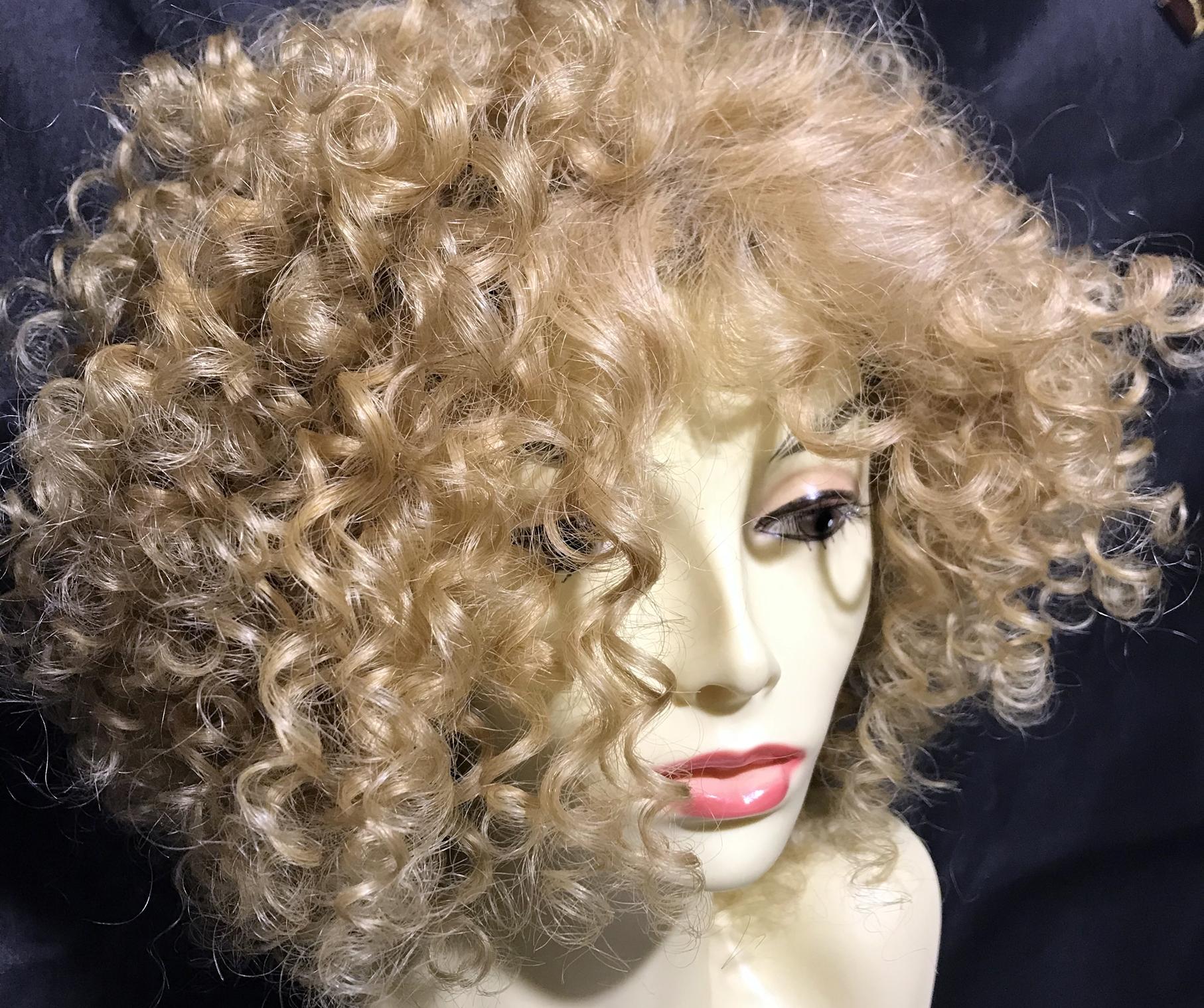Parrucca riccia capelli veri brasiliani colore Biondo dorato