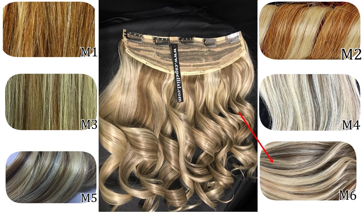 Allungamento di capelli fai da te da fissare con le clip. Capelli europei Colore biondo con riflessi meches californiana