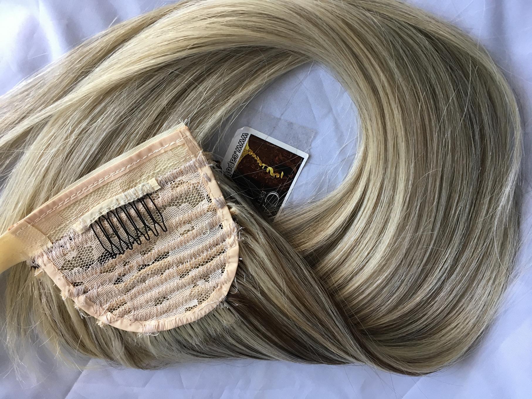 Coda bionda fatta con capelli veri europei da legare con nastro o a strappo
