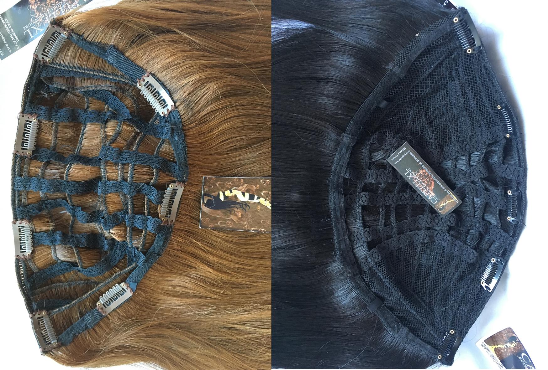 Toupet donna con clip capelli veri