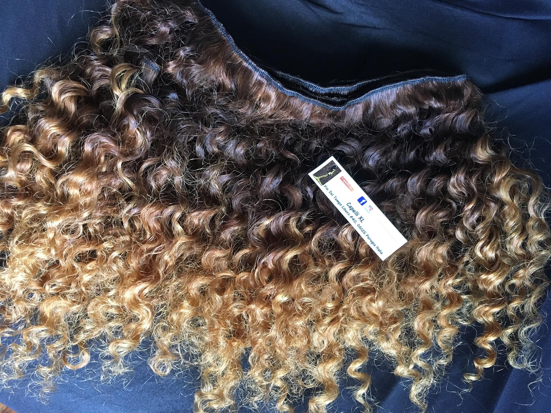 Capelli veri remyper extension colore Balayage capelli ricci sfumati Shatush