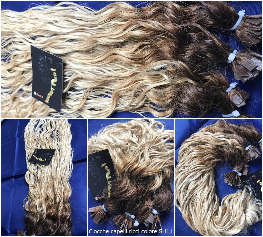 Ciocche ricce di capelli veri remy con cheratina colore balayage