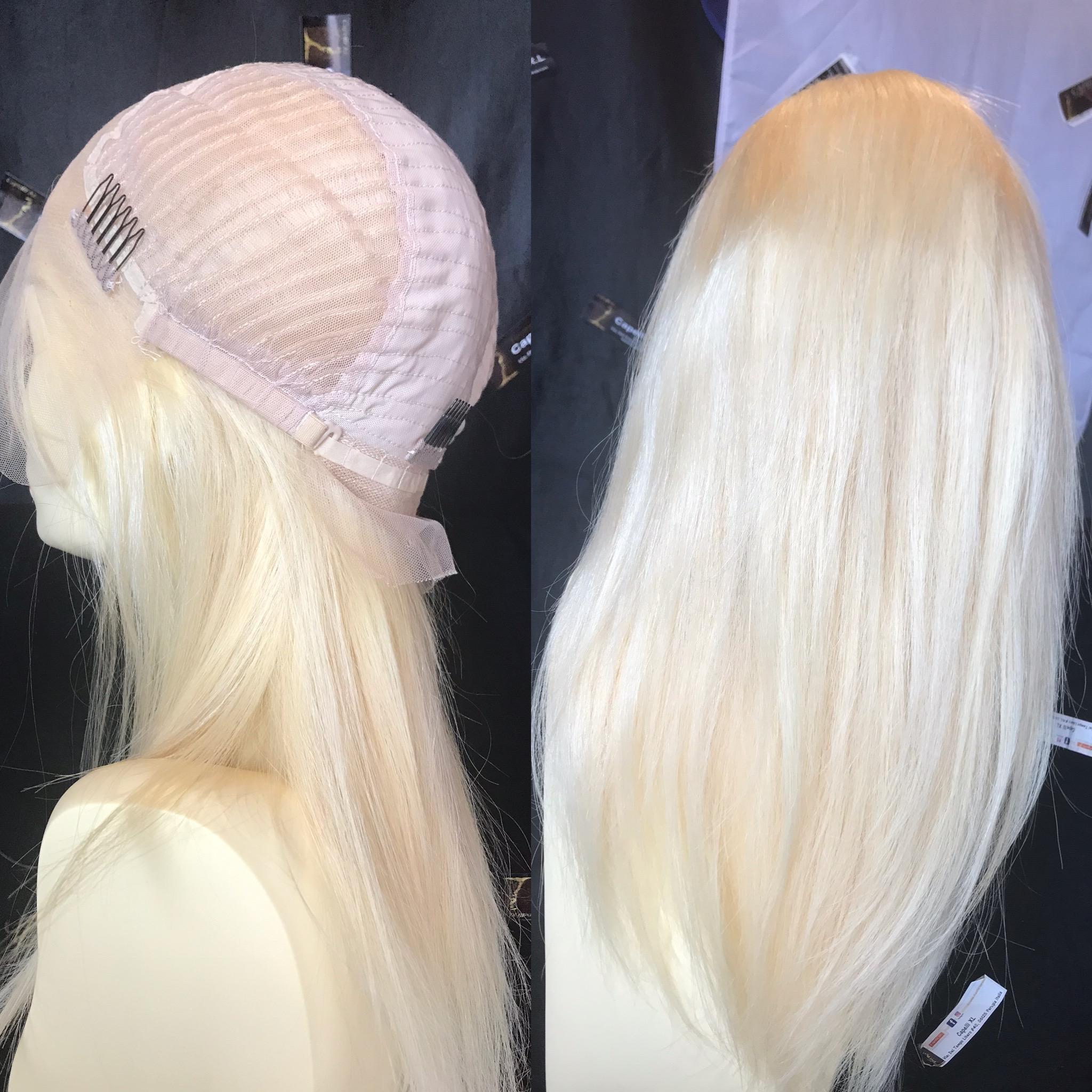 Parrucca Capelli veri remy biondo platino, Fatta con integrazione capelli uno ad uno effetto invisibile