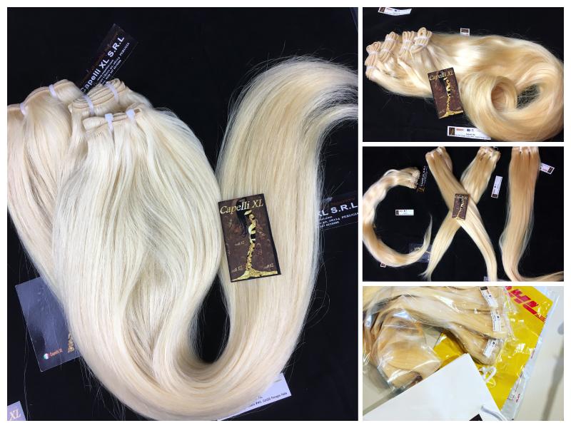 Tessitura capelli veri biondo platino