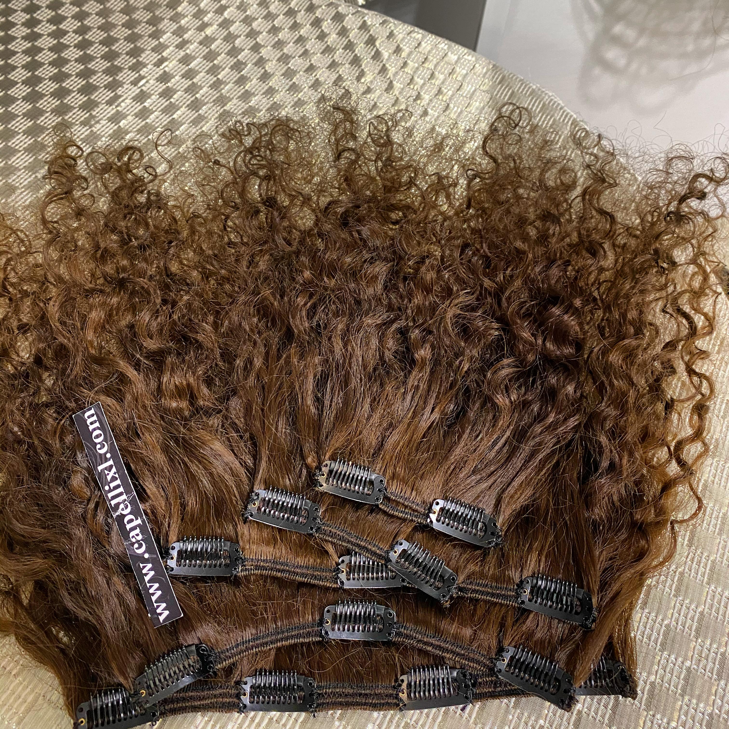 Extension Allungamento capelli Ricci, Capelli veri soluzione a varie fasce, Capelli veri remy di qualità Superiore Extension con clip Capelli umani